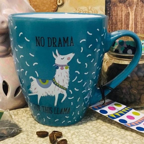 Save the Drama for your Llama Mug 16 oz New Blue White Scarf Glasses